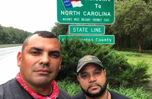 Two Veterans Response volunteers arriving in a disaster zone in North Carolina.